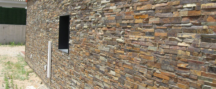 Panel de piedra natural en pizarra multicolor piedra - Paneles de piedra natural ...