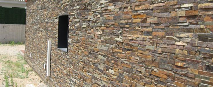 Panel de piedra natural en pizarra multicolor piedra - Panel piedra interior ...